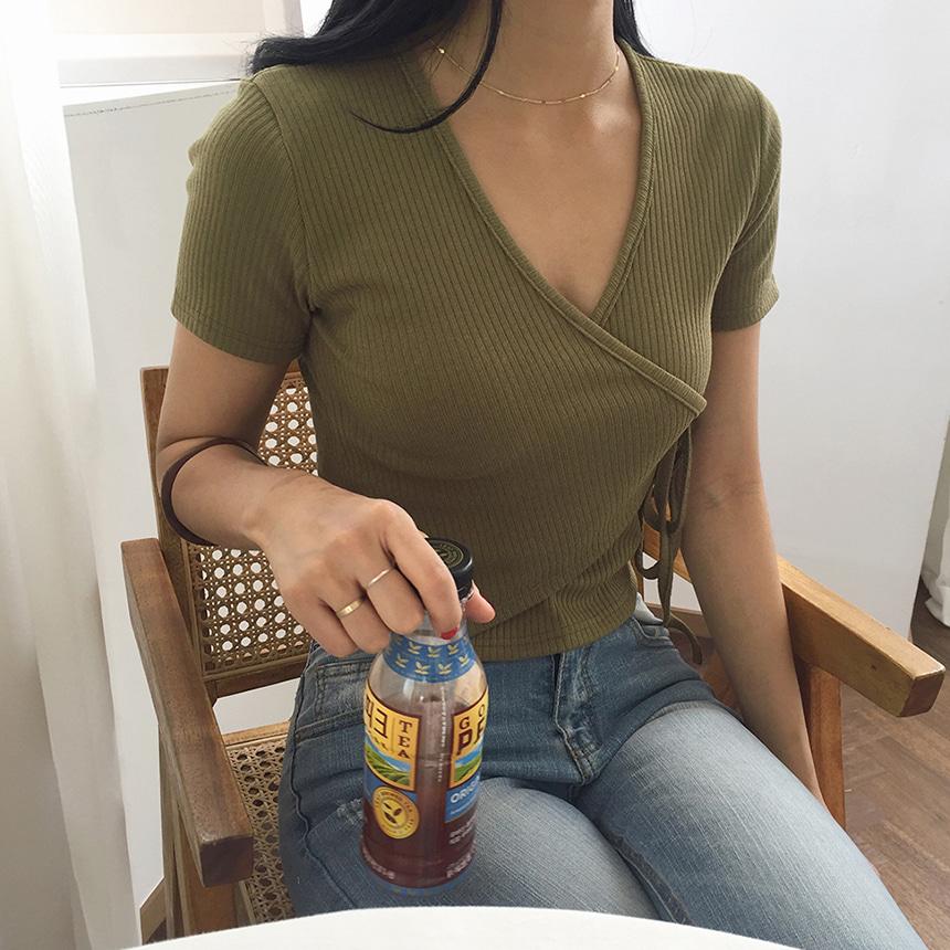 ラップリボンスリムリブTシャツ