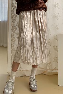 弹力腰褶皱半身裙