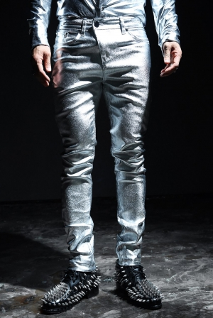 ByTheRByTheR Metallic Silver Foil Coating Skinny jean