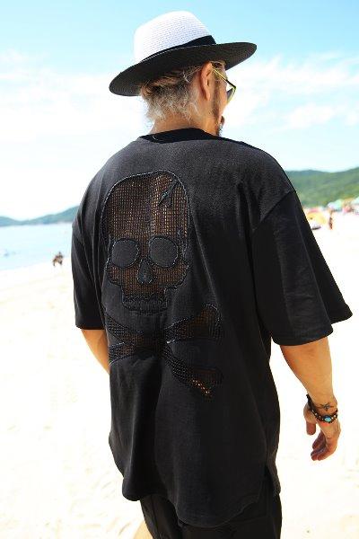 ByTheRバックスカルTシャツ(ブラック)