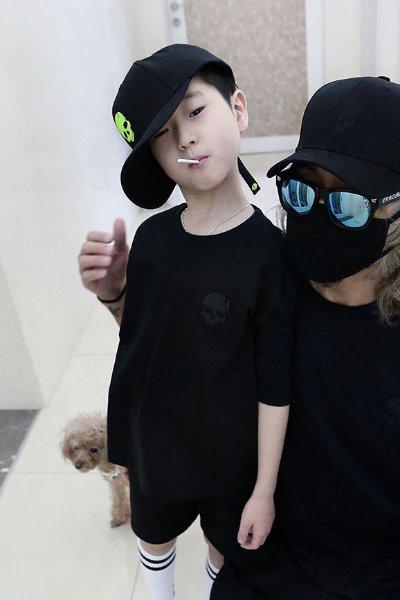 ByTheRキッズスカル刺繍半袖Tシャツブラック