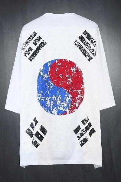ByTheRフラッグプリント半袖ルーズTシャツ(ホワイト)