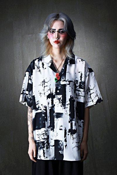 ByTheRモノトーンオープンカラーシャツ