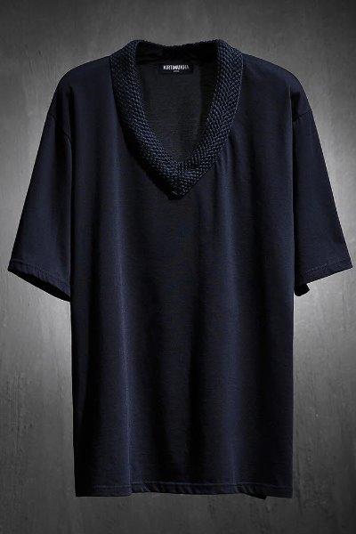 ByTheR配色ロープVネックTシャツ(ブラック)