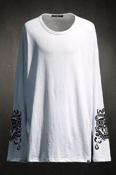 ByTheRプリントポイントロングスリーブTシャツ(ホワイト)