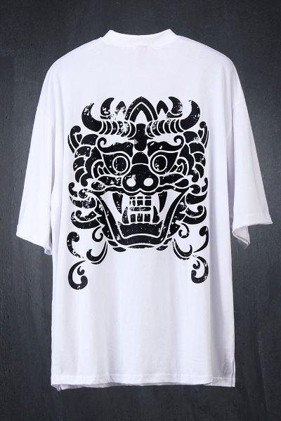 ByTheRプリント半袖ルーズTシャツ(ホワイト)