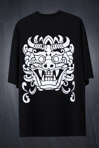 ByTheRプリント半袖ルーズTシャツ(ブラック)