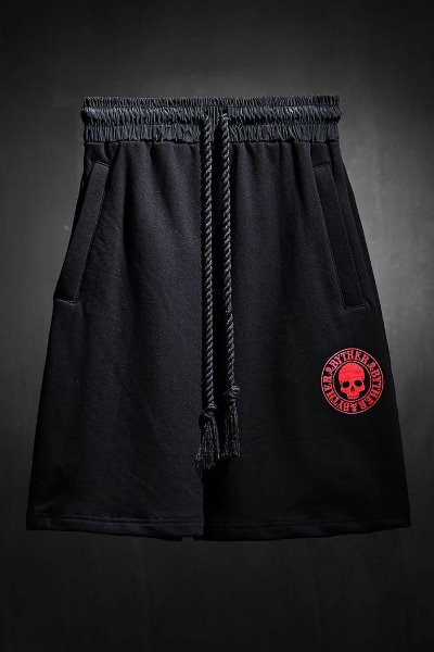 ByTheRByTheR red skull logo loose-fit shorts