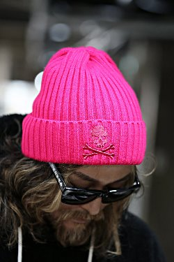 ByTheRスカル刺繍リブニット帽