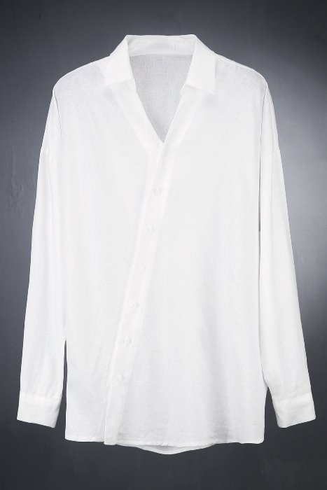 东方韵味斜式麻面料衬衫