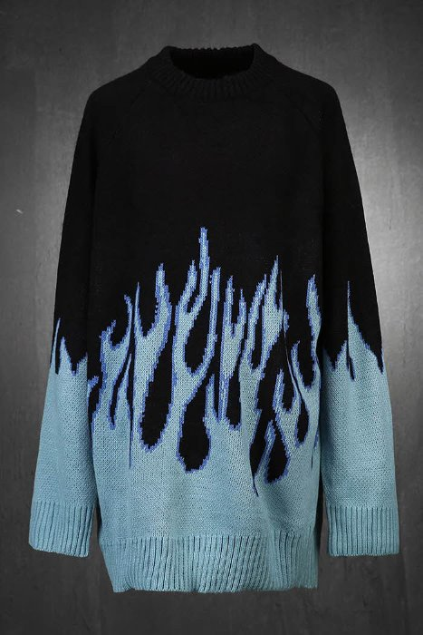 Flame Pattern Loose Fit Nagrand Knit