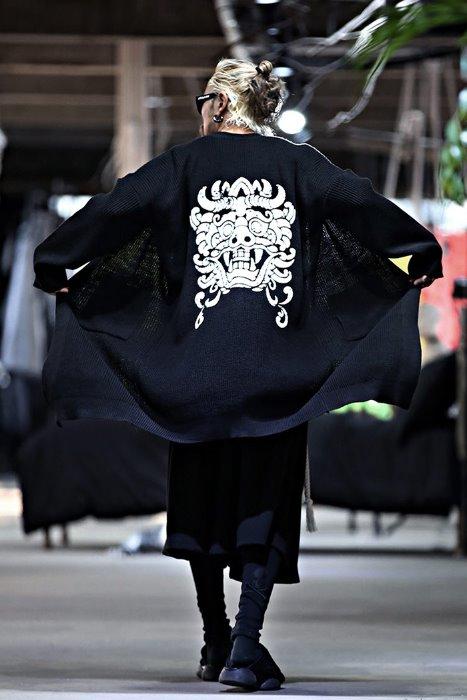 Mukha printed long knit cardigan