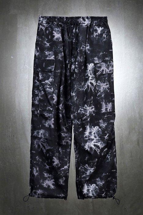 Rough tie-dye wide cargo trousers
