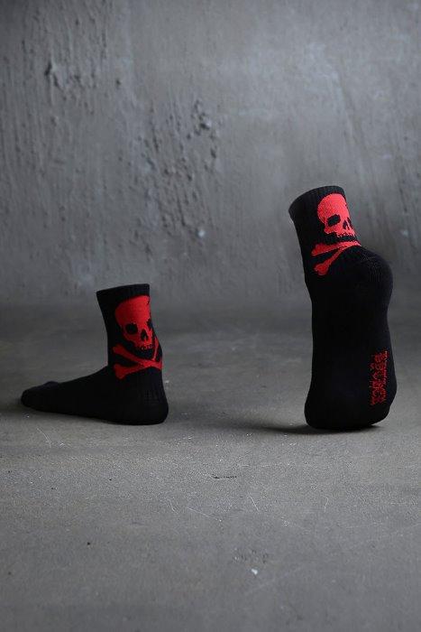 ByTheR Back Skull Logo Socks Red