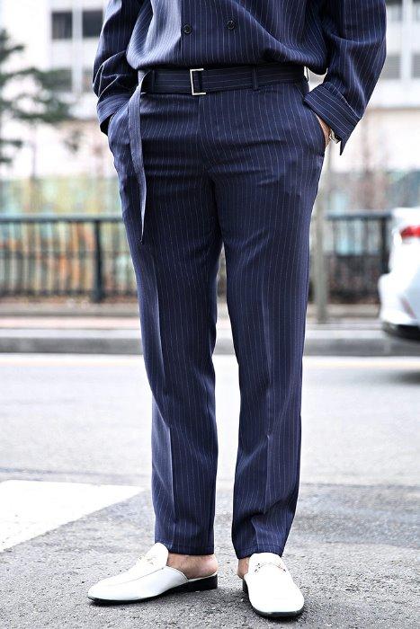 Striped twin belt slacks