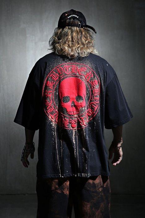ByTheR Custom Dripping Bleach Skull Logo Embossed Loose Fit Short Sleeve Tee Red