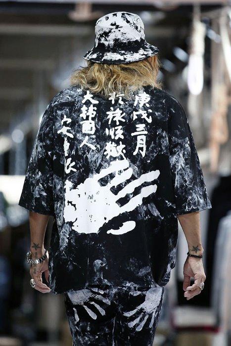 ByTheR Custom Rough Hand Painting Chopping Board Ahn Jung-geun Printing Loose Fit Short Sleeve Tee Black