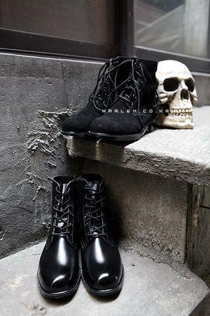 经典款式拉链绑带军靴