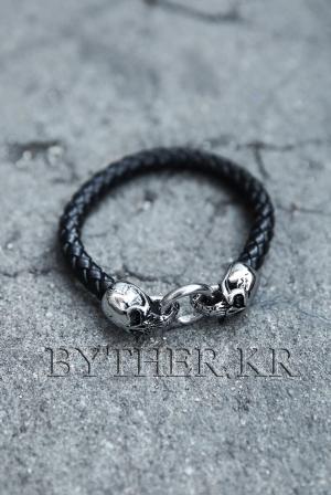 ByTheR雙骷髏頭皮革手環
