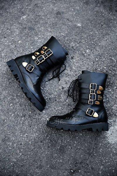 FIve Belt Golden Buckle Combat Boots