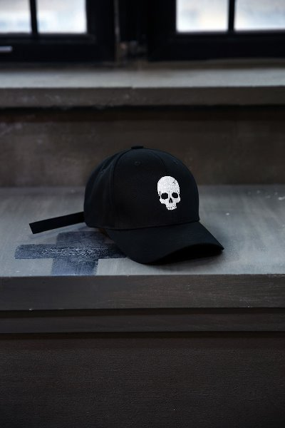 ByTheR Skull Embroidery Ball Cap White