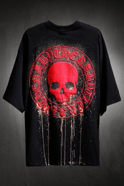 ByTheR Custom Dripping Bleach 红色骷髅图案宽松半袖