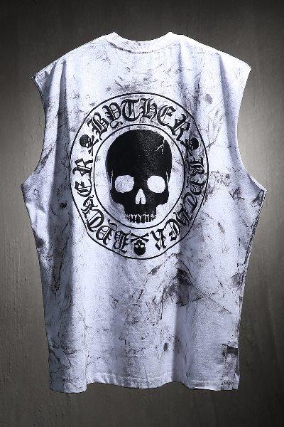 ByTheR Custom Rough Painting Skull Logo Cutting Box Sleeveless White