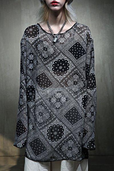 Bandana paisley pattern see-through t-shirt