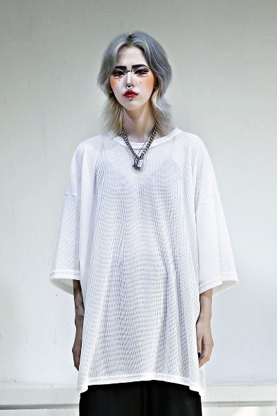 See-through overfit knit short sleeve tee