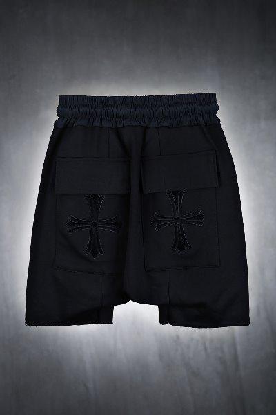 十字架口袋五分哈倫褲-黑色