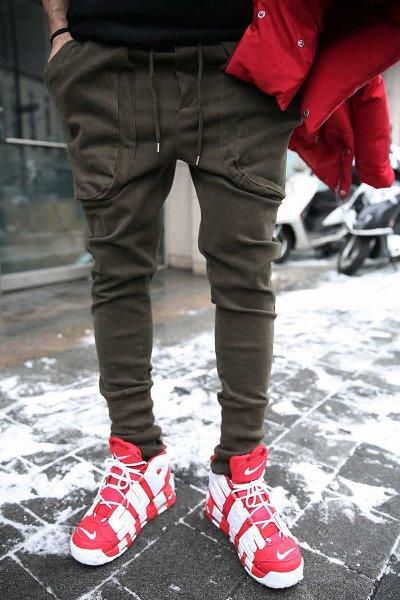 双口袋抽绳绑带束口休闲裤