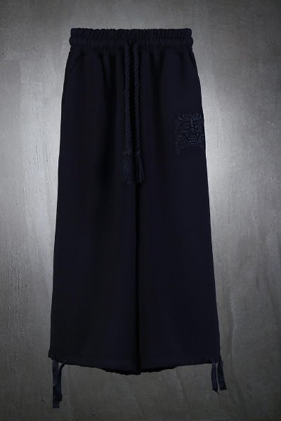 Mukha embroidered strap wide trousers