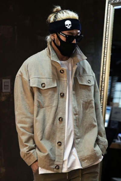 Jacket dress volume corduroy stitch trucker jacket khaki
