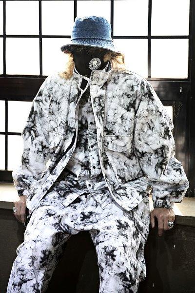 Rough tie-dye high-neck cropped jacket