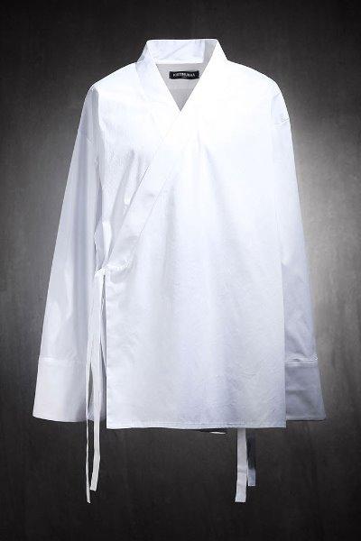 Mukha Oriental Loose Fit Diagonal Wrap Shirt White