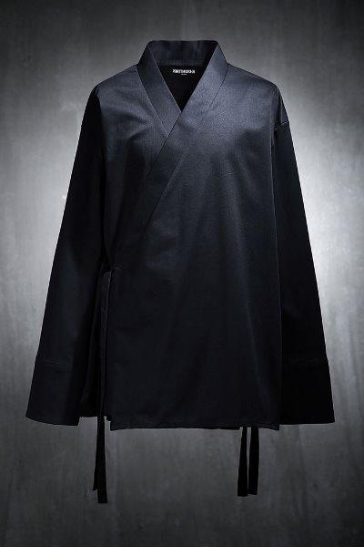 Mukha Oriental Loose Fit Slant Wrap Shirt Black