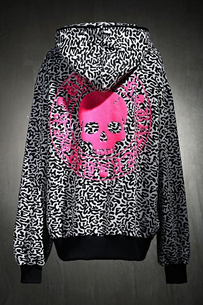 ByTheR Drill Pattern Pink Skull Logo Hooded Zip-Up