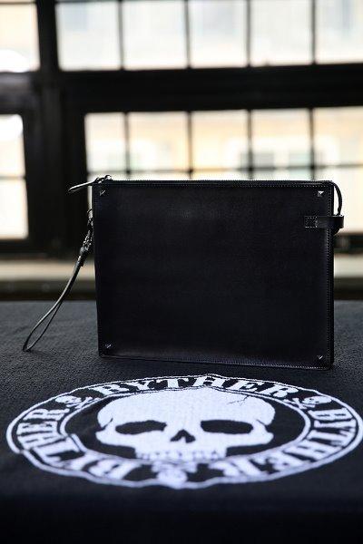 Square Stud Cowhide Clutch Bag
