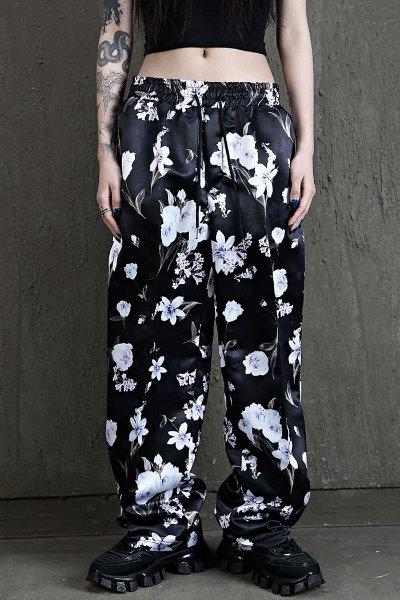 Flower pattern soft wide trousers