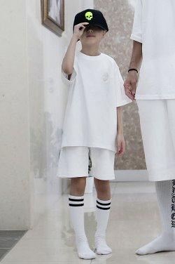 ByTheR Kids Skull Embroidery Short Sleeve White