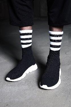 時尚條紋中筒襪