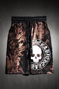 ByTheR Custom Rough Bleach Skull Logo Big Print Shorts