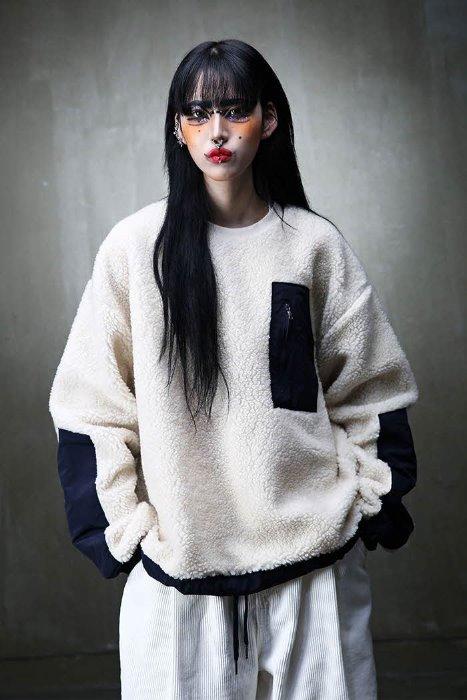 ByTheRColor Matching Detail Fleece Sweatshirt