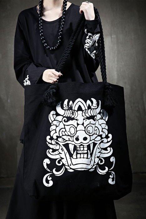 ByTheRMukha Print Oversized Rope Shoulder Bag Black