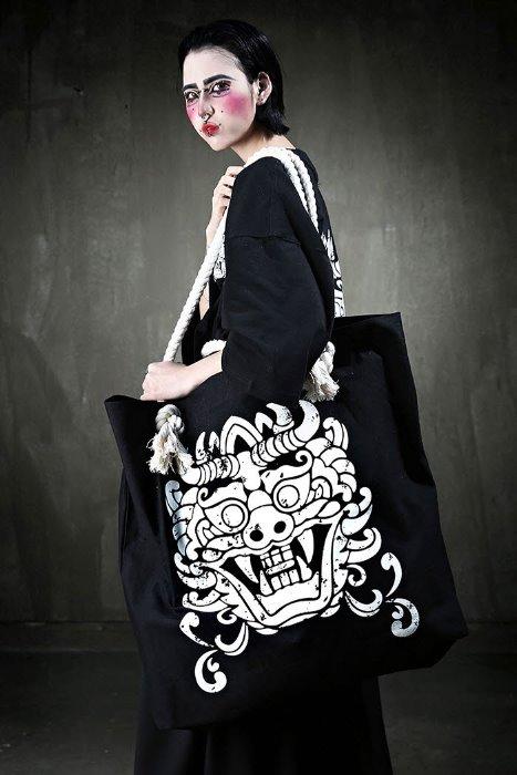 ByTheRMukha Print Oversized Rope Shoulder Bag Ivory