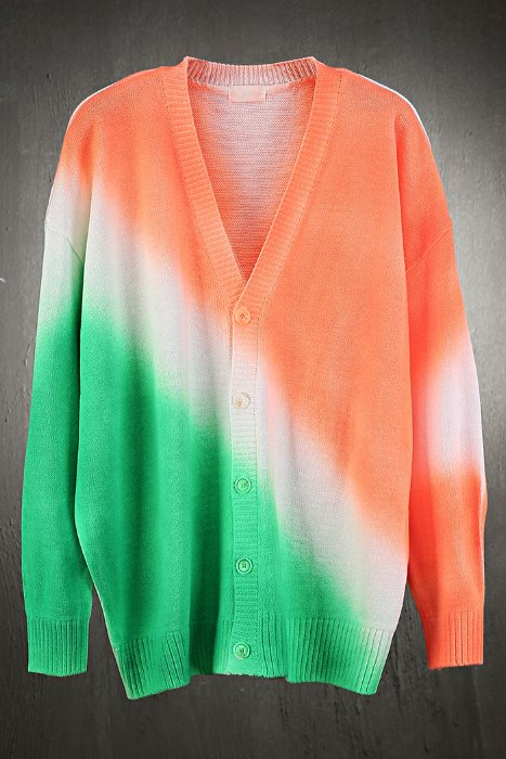 ByTheRVivid two-tone color matching loose fit cardigan