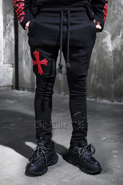 ByTheRByTheR Red Cross Embroidery Training Pants