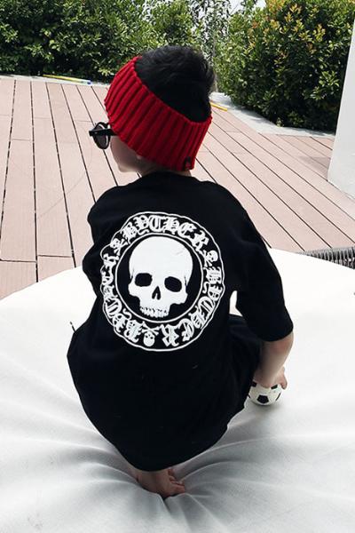 ByTheRByTheR兒童骷髏LOGO黑色休閒半袖T恤