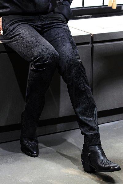 ByTheR佩斯利图案天鹅绒直筒裤