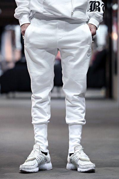 ByTheRByTheR骷髅刺绣纯棉束腿裤